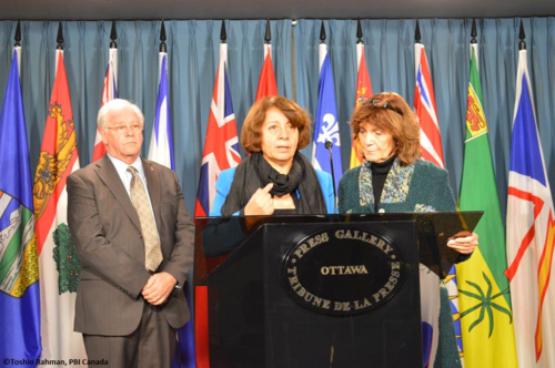Press conference on Parliament Hill with Bertha Oliva